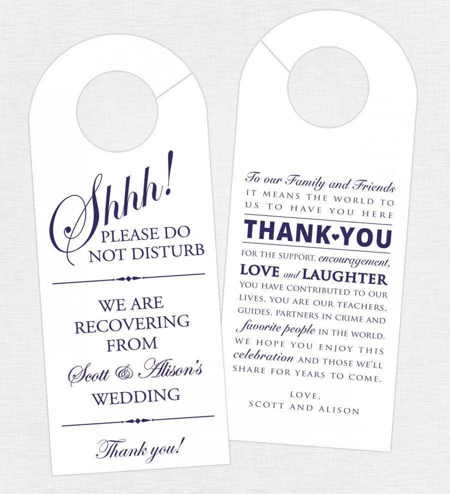 set of 10 double sided door hanger for wedding hotel welcome bag