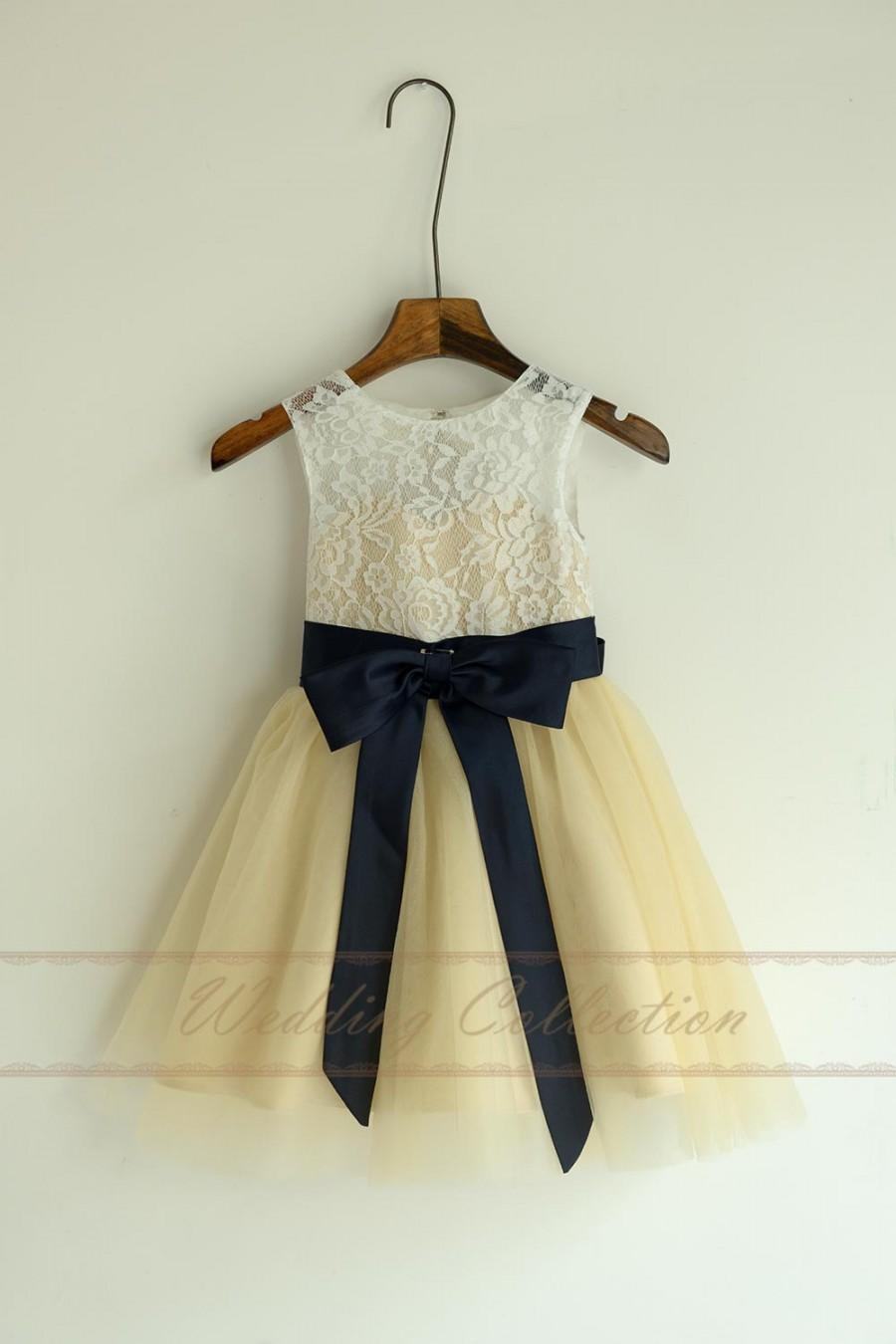 زفاف - Champagned Dress with Ivory Lace Top Flower Girl Dresses, Tulle Flower Girls Dress With Navy Blue Sash and Bow