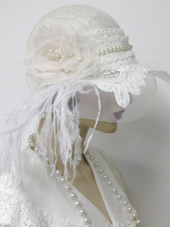 زفاف - 1920's Flapper Wedding Cloche/Reserved For Laura