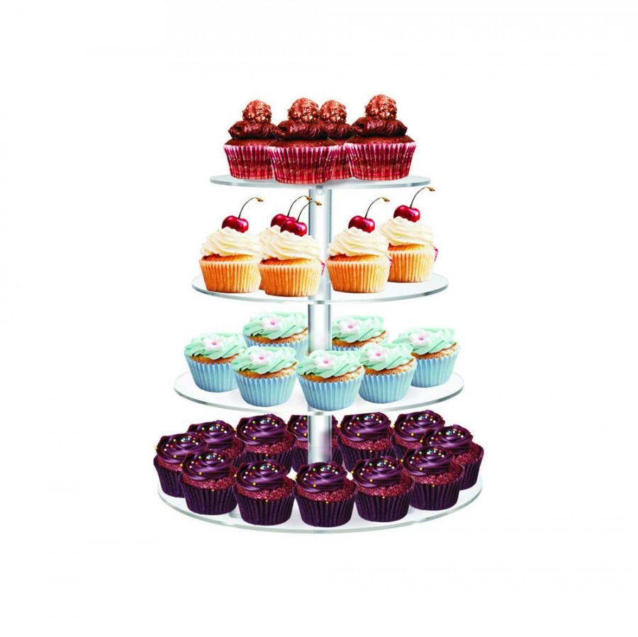 """Wedding - 4 Tiers 1/4"""" Commercial Clear Acrylic cup cake Stand"""