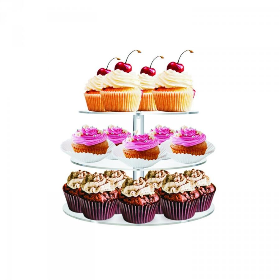 """Wedding - 3 Tiers 1/4"""" Commercial Clear Acrylic cup cake Stand"""