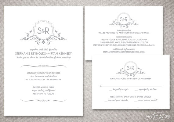 Monogram Stephanie Wedding Invitations Suite Beautiful Floral