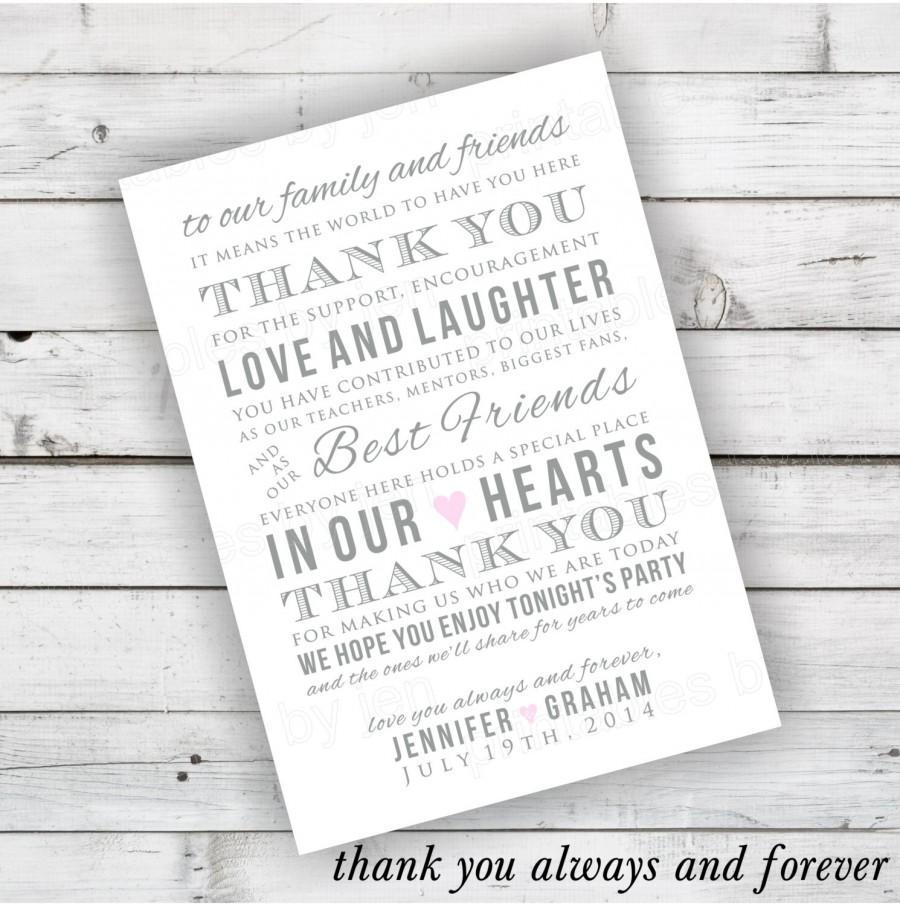 DIY Wedding Reception Thank You Card Printable