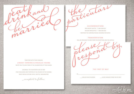"eat, drink, and be married calligraphy ""lindsey"" wedding, Wedding invitations"