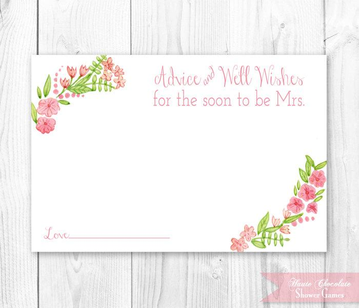 photograph regarding Printable Bridal Shower Cards named Typical Floral Bridal Suggestions Card. Floral Bridal Shower