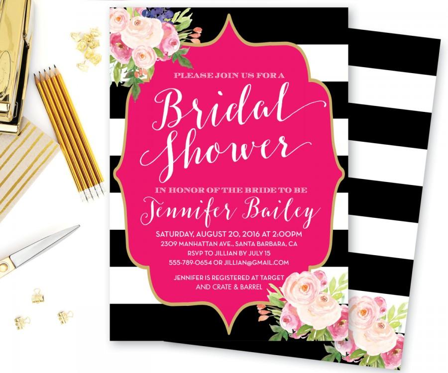 bridal shower invitation baby shower invitation bridesmaid brunch bridal brunch black white stripes spade shower the katherine