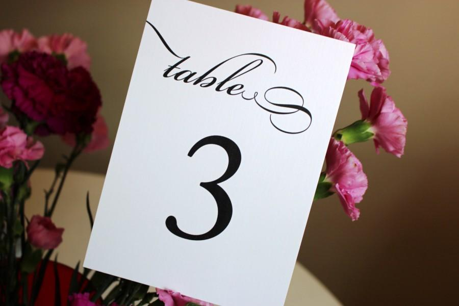 زفاف - Table Numbers, Black and White Table Cards, Pretty Script, Classic Wedding Cards,  Once Charmed Style