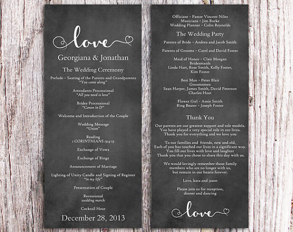 Nozze - Chalkboard Wedding Program Template DIY Editable Word File Download Black & White Program Heart Program Printable Wedding Program 4x9.25