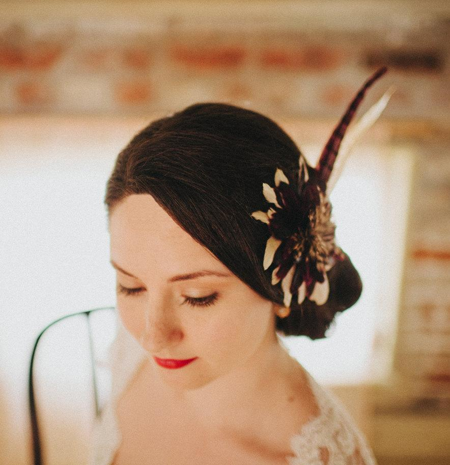 Wedding - Art Deco Art Nouveau Purple and Cream Fall Feather Bridal Fascinator Vintage Inspired,