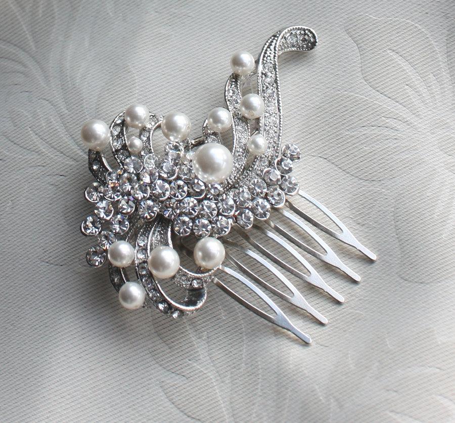 Wedding - Bridal crystal Pearls Hair Brooch for wedding ,vintage inspired bridal hair comb Wedding Bridal Headpiece - Isabella