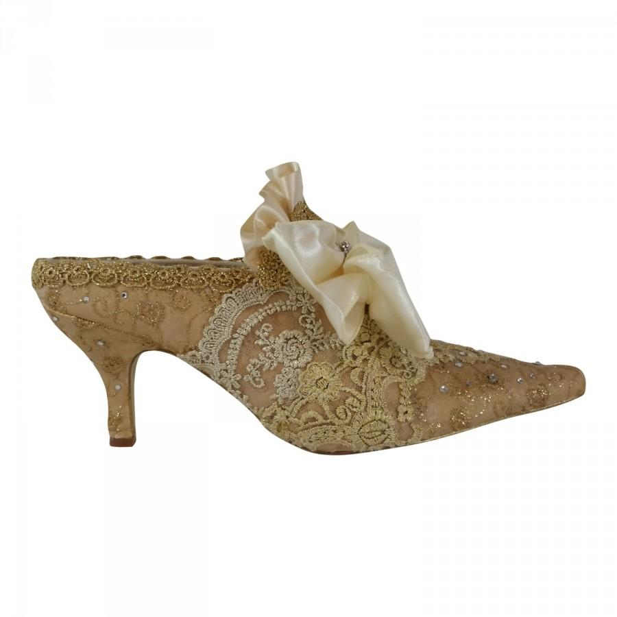 Marie Antoinette Wedding Shoes Gold And Ivory Lace Paris Fashion Bridal Vintage FREE US Postage