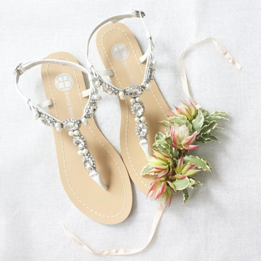 Pearl Wedding Sandals Shoes With Something Blue Sole And Oval Jewel Crystals For Beach Or