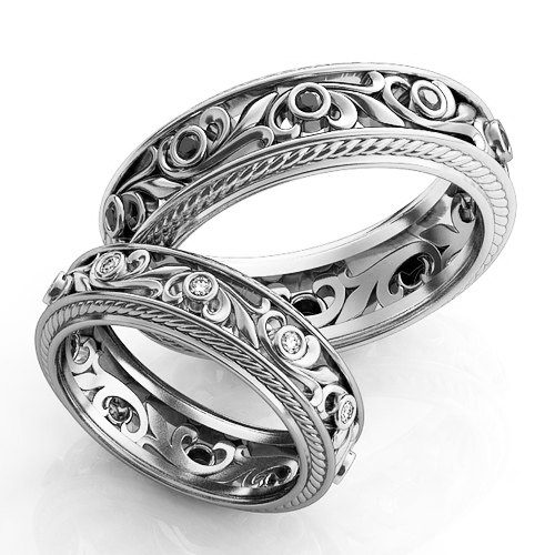 Vintage Style Engagement Rings Silver Wedding Ring Set Filigree Unique Bands Promise His And Hers