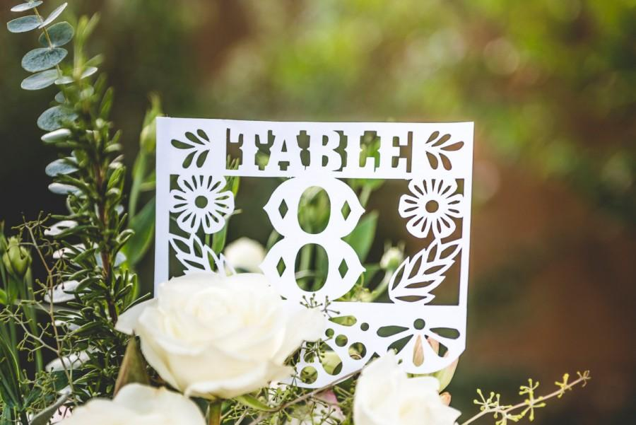 Mariage - Papel Picado Table Numbers, Mexican Fiesta, Wedding, Centerpiece, Mexican Flags, Set of 12