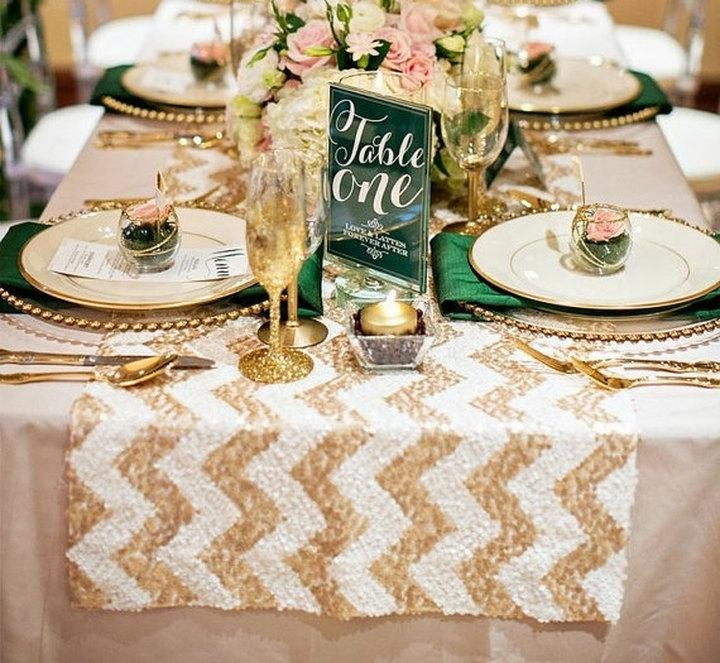 Glam Champagne Chevron Sequin Tablecloth For Your Vintage Wedding! Custom Sparkle  Table Cloths, Runners U0026 Overlays