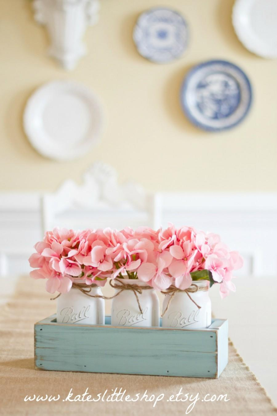 Mothers Day Rustic Planter Box With 3 Vintage Style Mason Jars ...
