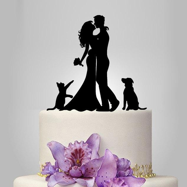 Mariage - Bride and Groom silhouette wedding Cake Topper with dog and cat,  acrylic Wedding Cake Topper, funny cake topper, romantic couple topper