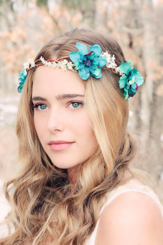 Mariage - Delphinium Hair Crown, Woodland Flower, Bridal Hair Flower, Rustic Wedding, Teal Flower Hair Crown, Delphinium Flower Crown