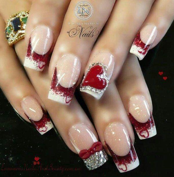 زفاف - 50 Valentine's Day Nail Art Ideas