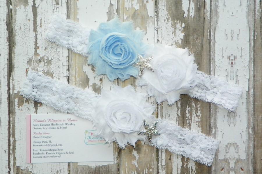 Hochzeit - Beach Wedding Garters, Blue Wedding Garters, Starfish Wedding Garter Set, Beach Wedding, Destination Wedding, Coastal Wedding, Bridal Shower