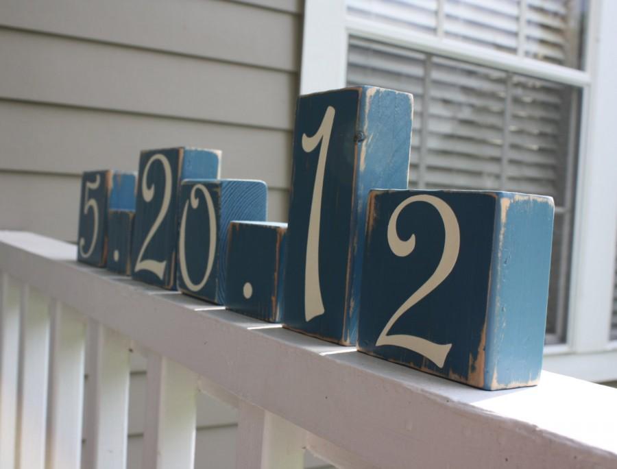 Свадьба - CUSTOM WEDDING BLOCKS - Personalized Bridal Shower Centerpiece - Anniversary Date - Table Numbers - Something Blue Decor