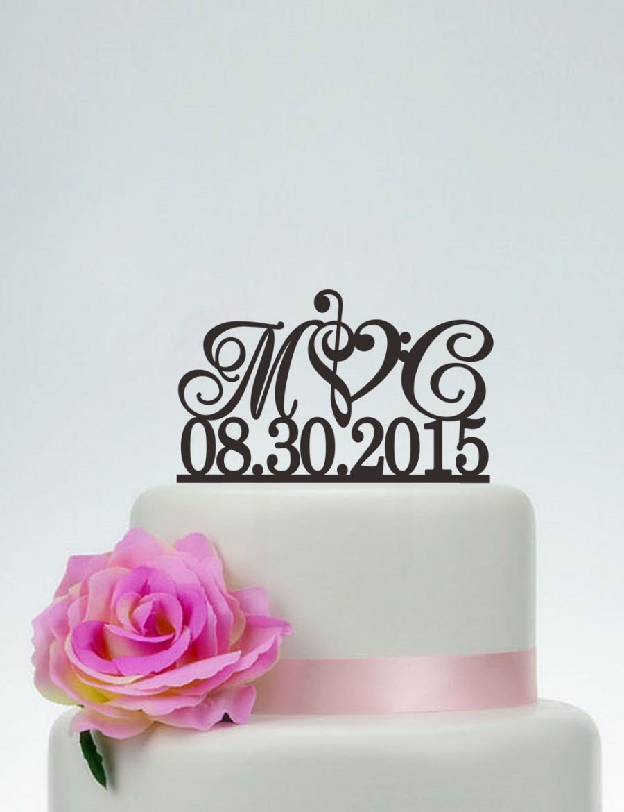 Wedding Cake TopperInitials Topper With DateCustom TopperMusic Note TopperPersonalized I025