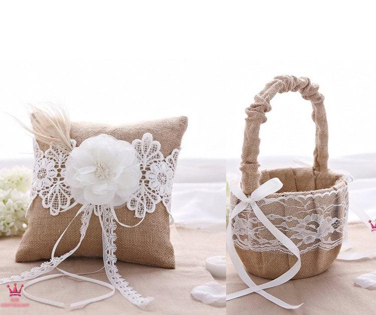 Mariage - Burlap Lace Rustic Wedding Ring Bearer Pillow & Flower Girl Basket Set Party Favor