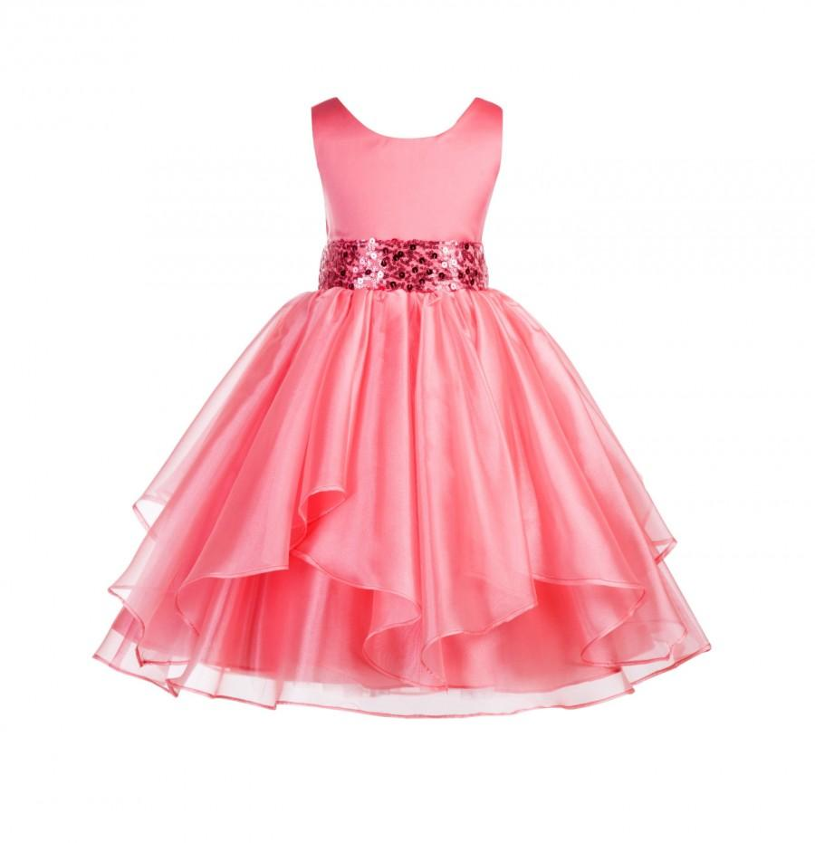 زفاف - Wedding Asymmetric Ruffles Satin Organza coral Flower girl dress sequin sash bridesmaid toddler formal events junior sizes 4 6 8 10 12 #012