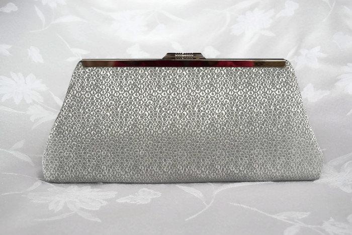 Mariage - PLATINUM,  silver  clutch purse/ Handmade,  evening bag/  wedding Clutch purse , Bridesmaid gift purse , Summer  purse, Holiday clutch