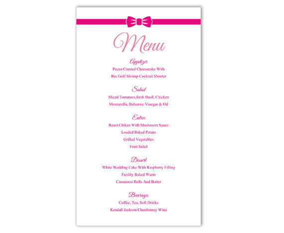 Mariage - Wedding Menu Template DIY Menu Card Template Editable Text Word File Instant Download Pink Menu Fuchsia Menu Template Printable Menu 4x7inch