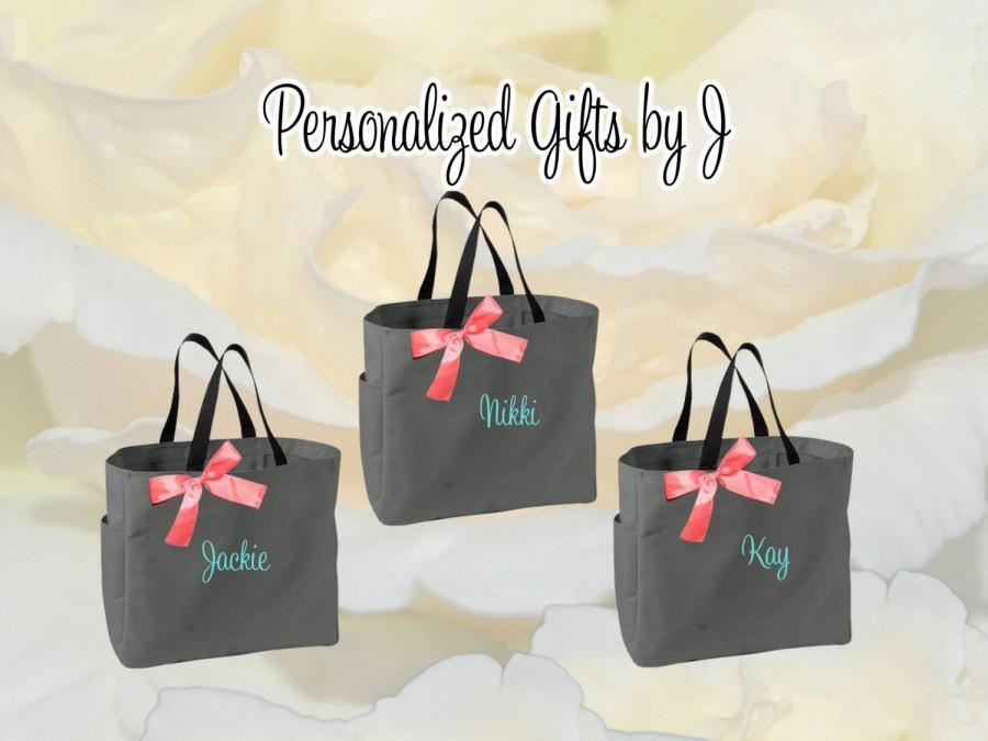 Свадьба - 8 Personalized Bridesmaid Gift Tote Bag Wedding