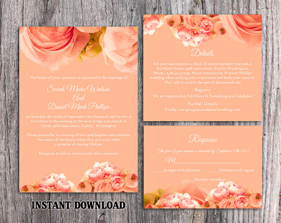 Wedding - DIY Wedding Invitation Template Set Editable Word File Download Printable Peach Invitation Boho Wedding Invitation Peonies Invitation