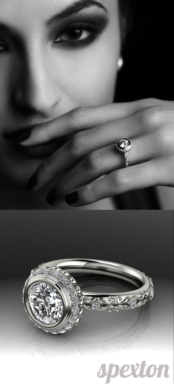 Mariage - Vintage Halo Bezel Engagement Mounting