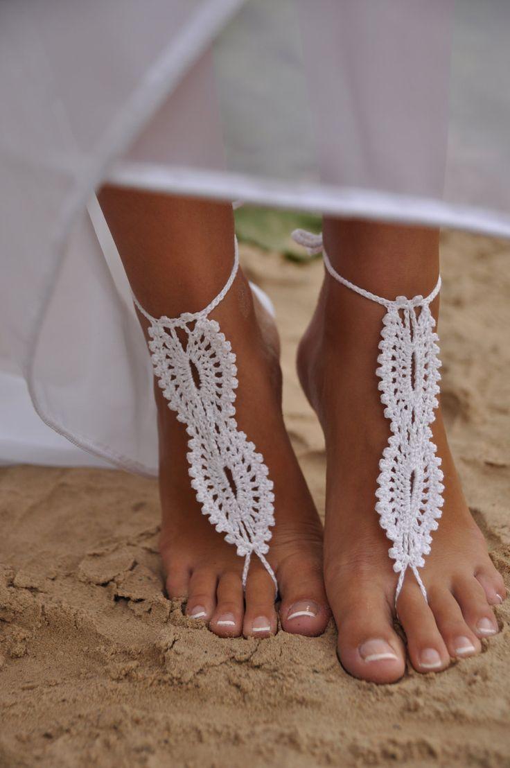 Bridal barefoot sandals white crochet barefoot sandals bridal foot bridal barefoot sandals white crochet barefoot sandals bridal foot jewelry beach wedding barefoot sandals lace shoes beach wedding sandals junglespirit Gallery