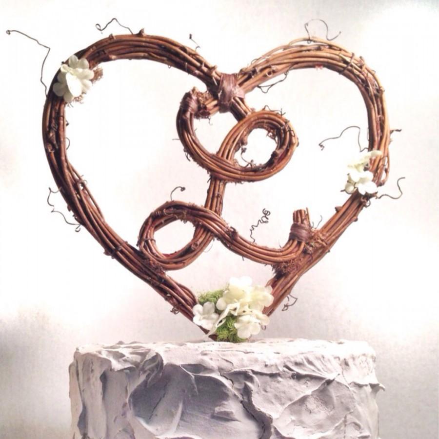 Letter L Rustic Twig Monogram Heart Wedding Cake Topper