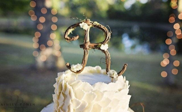 Mariage - Letter R Rustic Twig Wedding Cake Topper