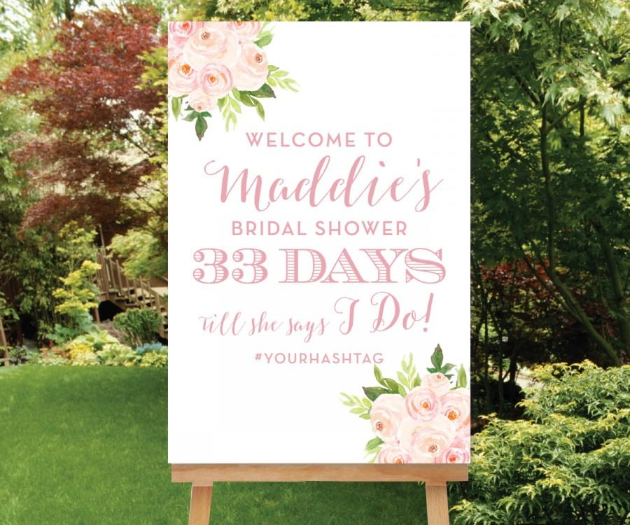Mariage - Wedding Countdown Printable, Bridal Shower Welcome Sign Custom Welcome Sign, Days Till She Says I Do Sign Bridal Shower Hashtag, The Bella