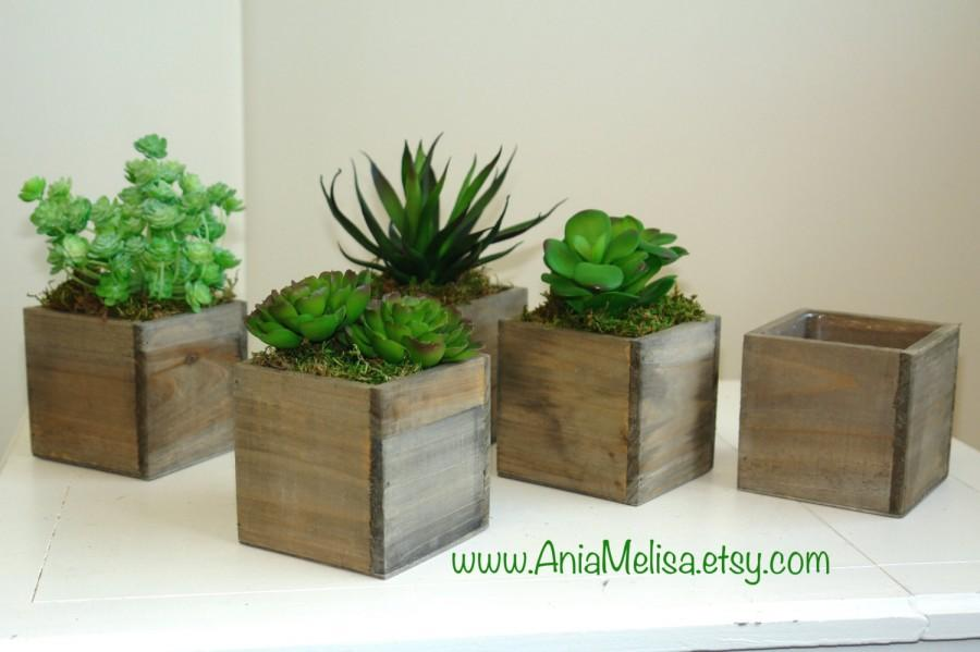 Wood Box Wood Boxes Succulent Planter Flower Rustic Pot Square Vases For Wedding Top Table Decor