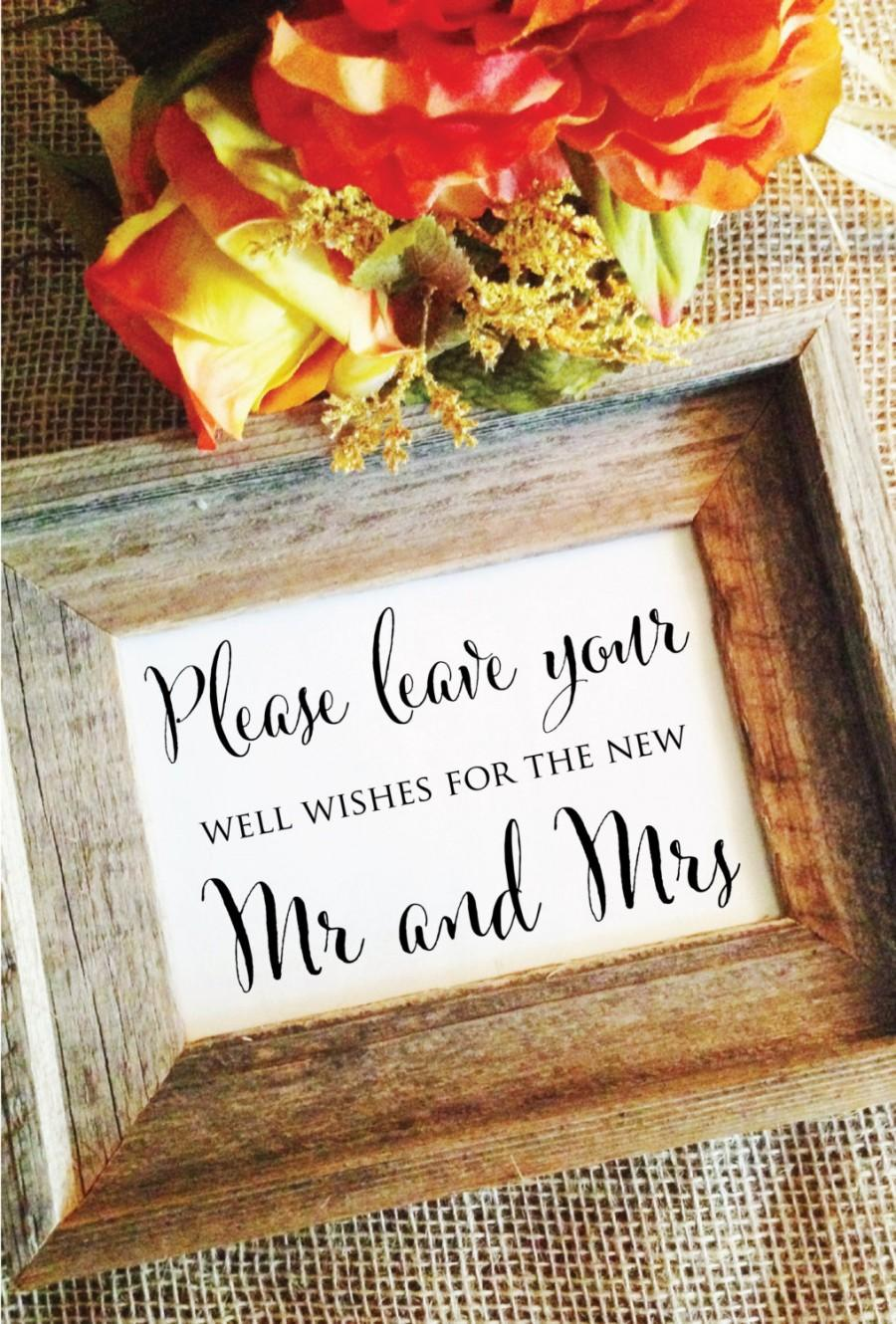 Please Leave Your Well Wishes For The New Mr And Mrs Stylish Wedding Sign Frame Not Included