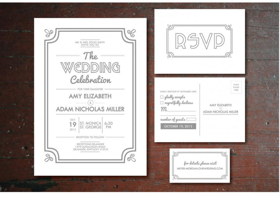 Printable Vintage Wedding Invitation Rsvp Postcard Info