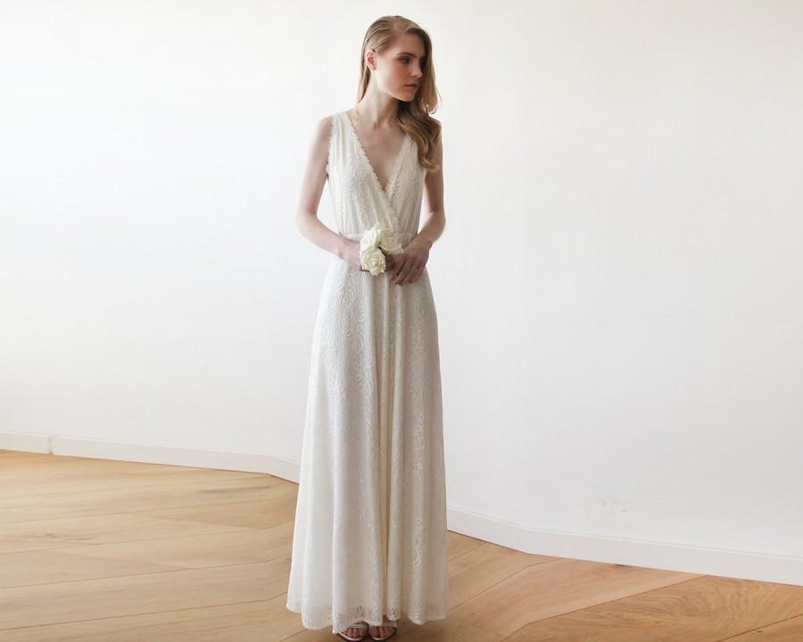 Lace Ivory Wedding Gown, Maxi Lace Wedding Dress, V