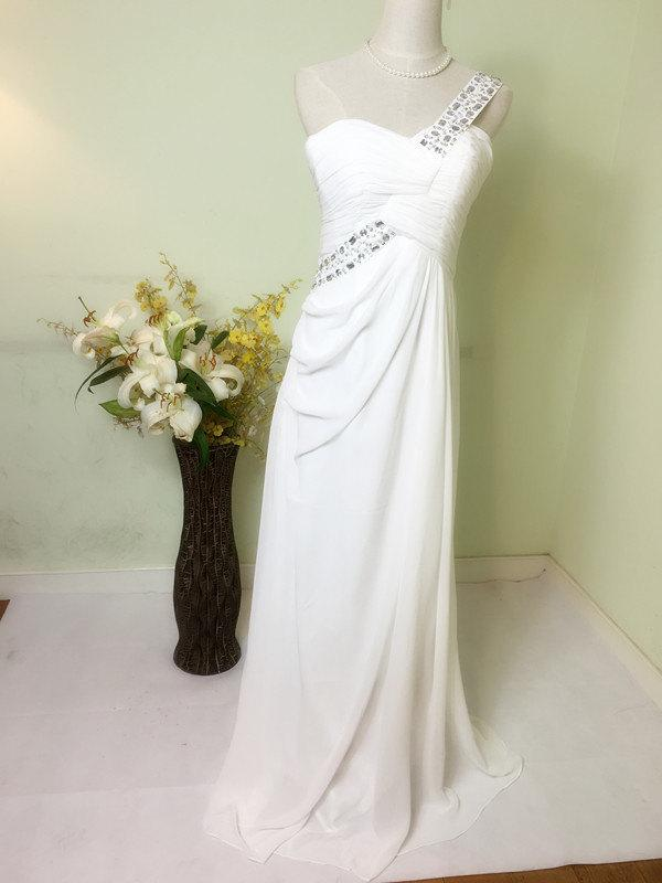 Mariage - One shoulder bride dress,prom dress,bridemaid dress,wedding gown,party dress,formal dress,white dress