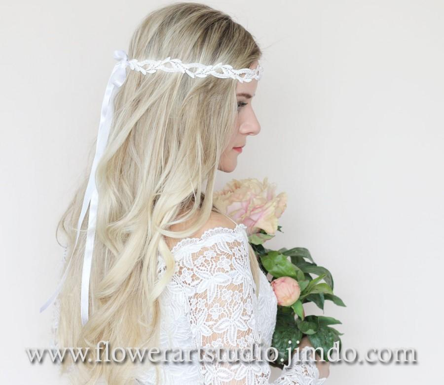 Wedding - White Bridal Headband, White Floral Crown, Flower Girl Hair Wreath, White Bridal Flower Crown, Bridal Hair Accessories, Wedding Headband.