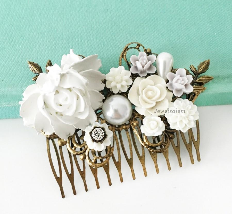 Mariage - Wedding Hair Comb White Bridal Hair Slide Romantic Hair Jewelry Flower Headpiece for Bride and Bridesmaids