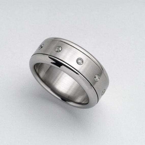 Wedding - Spinner ring diamond, unisex stainless steel Dots diamonds ring, kinetic men's diamonds engagement ring, women's simple diamond band promise