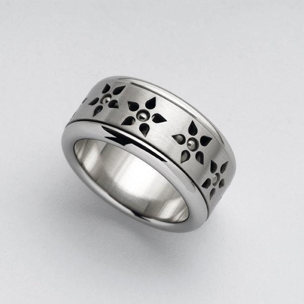 Wedding - Unique women's spinning ring, womens wide wedding bands, Kinetic stainless steel, Flowers spinner ring, women statement ring, Berman Design