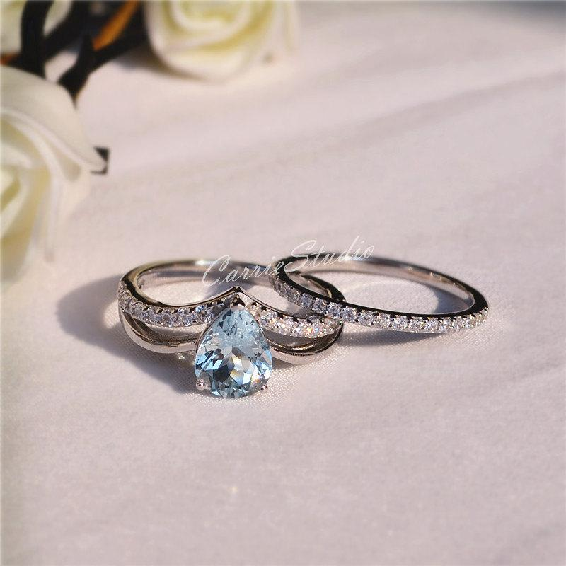CarrieStudio Natural Aquamarine Ring Set Aquamarine Engagement Ring Set  Wedding Ring Set Sterling Silver Ring Anniversary Ring Promise Ring