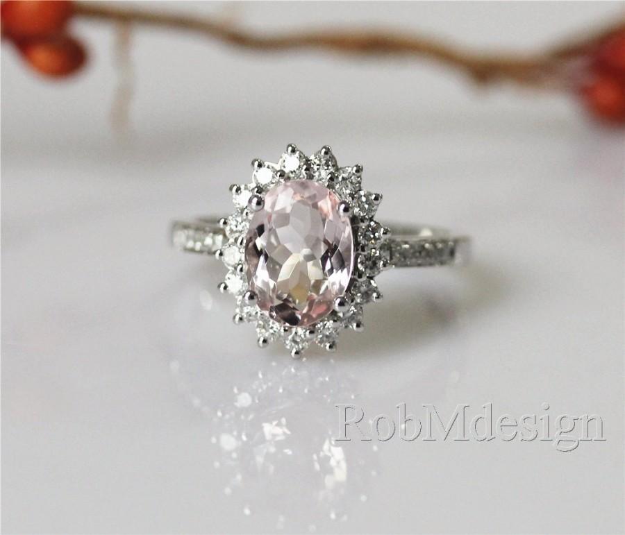 زفاف - 14K White Gold VS 7*9mm Oval Cut Ring Natural Fancy Morganite Ring Halo Diamond Floral Engagement Ring Diamond Gemstone Ring Wedding Ring