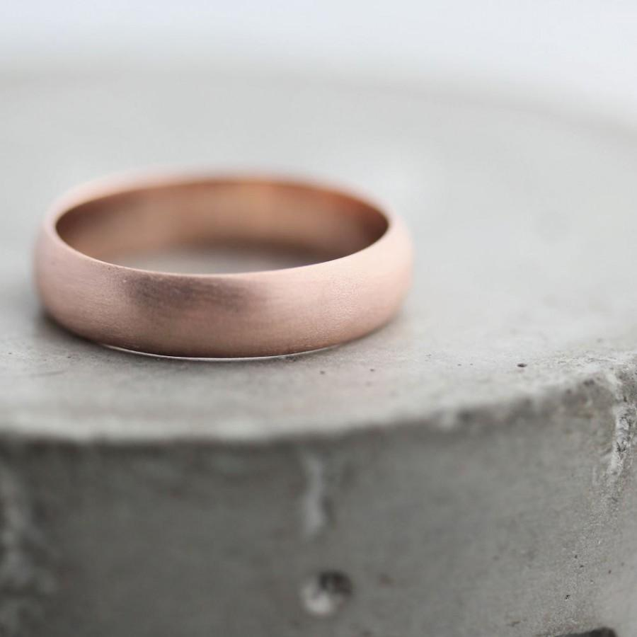 men 39 s rose gold wedding band 5mm brushed half round 14k recycled rose gold wedding ring gold. Black Bedroom Furniture Sets. Home Design Ideas