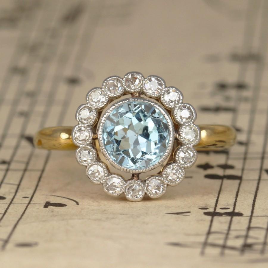 زفاف - Edwardian Aquamarine and Old Cut Diamond Cluster Engagement Ring, Vintage Halo Ring made in 18ct Gold and Platinum with Mill Grain detail